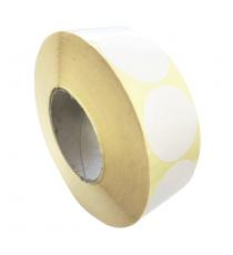 Etiquettes rondes double découpe diam. 50mm / Papier Velin blanc / Bobine échenillée de 500 étiquettes GS