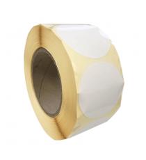 Etiquettes rondes diam. 30mm / Papier blanc brillant / Bobine échenillée de 2 000 étiquettes GS