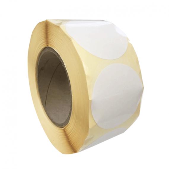 Etiquettes rondes diam. 150mm / Papier blanc brillant / Bobine échenillée de 425 étiquettes GS