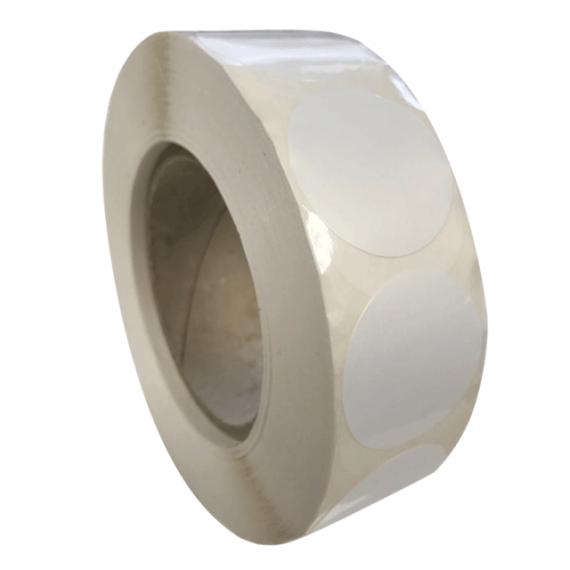 Etiquettes rondes diam. 200mm / Polypro Blanc Brillant / Bobine échenillée de 300 étiquettes GS