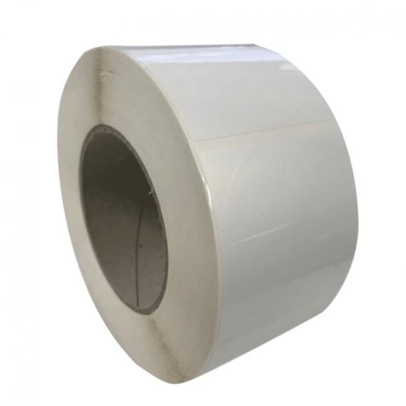 Etiquettes double découpe ronde 64 mm / Polypro blanc / Bobine échenillée de 1000 étiquettes