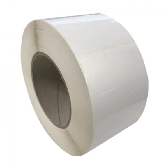 Etiquettes double découpe diam. 30 mm / Papier blanc brillant / Bobine échenillée de 1000 étiquettes GS