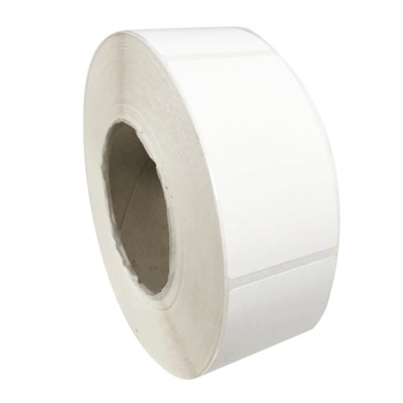 Etiquettes adhésives 50x50mm / Polypro blanc mat / Bobine échenillée de 1000 étiquettes GS