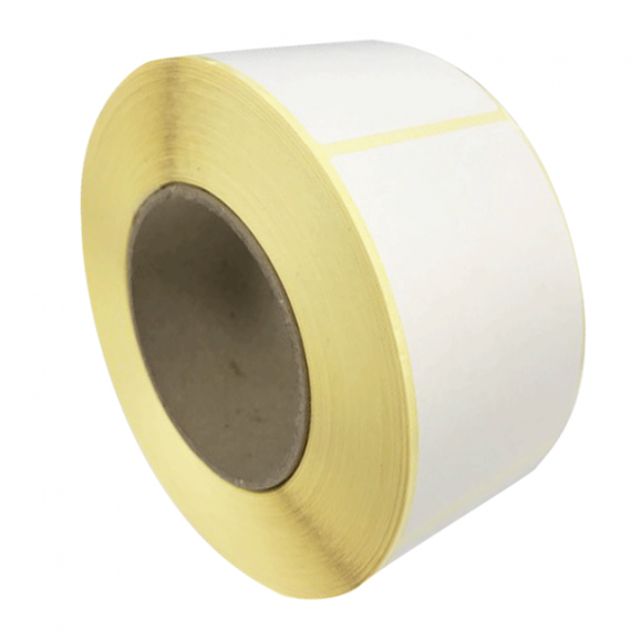Etiquettes autocollantes 65x65mm / Papier blanc Velin / Bobine de 625 étiquettes GS