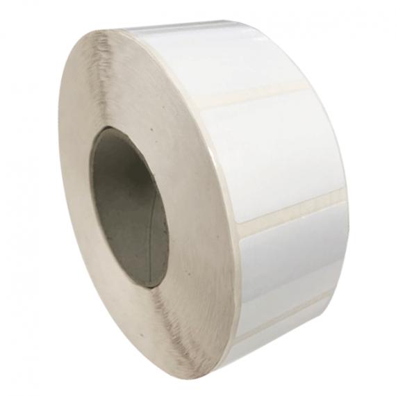 Etiquettes adhésives 50X50mm / Polypro Blanc Brillant / Bobine échenillée de 1200 étiquettes GS