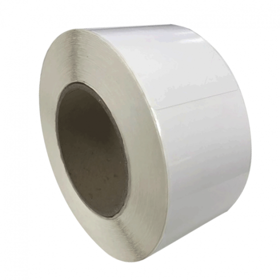 Etiquettes 30x30mm / Papier blanc brillant-satin / Bobine échenillée de 2000 étiquettes GS