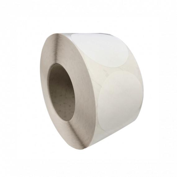 Bobine d'étiquettes rondes blanc brillant 45mm / bobine de 1100 mandrin 40 mm étiq.