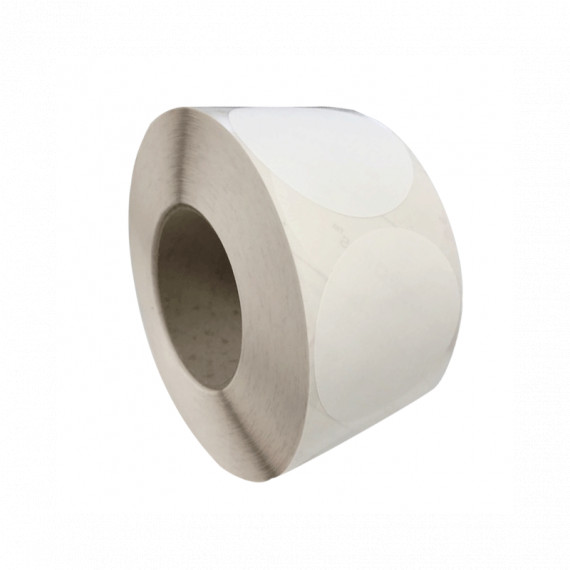 Bobine d'étiquettes rondes blanc brillant 64mm / bobine de 800 étiq / mandrin 40 mm